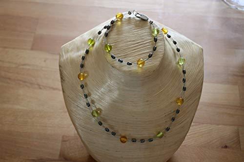 Schönes handgefertigtes Set aus einer Kette und einem Armband, aus Glas Perlen und Hämatit Linsen!! Unikat !!