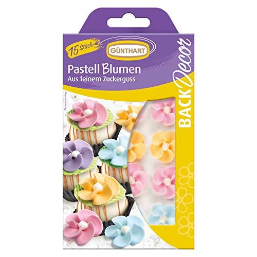 Günthart BackDecor VKE mit 15 Packungen | Pastell Blumen | Zuckerguss | Pastell Farben | Blumen | Zucker | Dekoration
