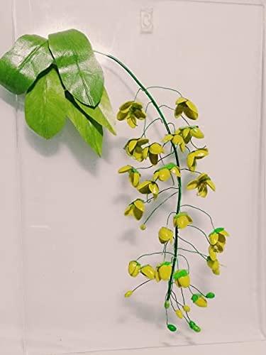 Flor 3D Decoración de pared Árbol de ducha amarillo dorado, conchas de pistacho Arte que cuelga Nueces secas Conchas sala de estar Decoración moderna para el hogar inteligente con respaldo acrílico