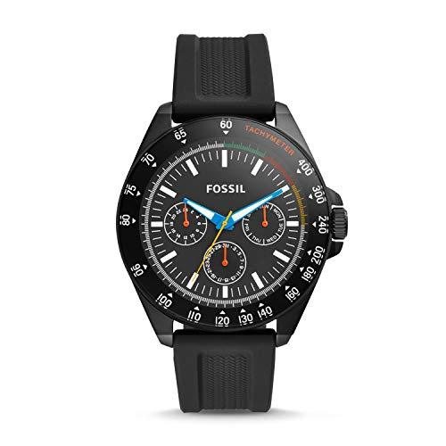 Fossil Neale Armbanduhr mit drei Zeigern, Silikon, Schwarz BQ2355