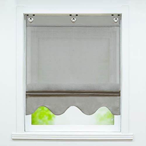 Joyswahl Voile Ösenrollo Raffrollo in Leinenoptik mit Wellen-Abschluss »Alexa« Schals Fenster Gardine mit Hakenaufhängung, ohne Bohren BxH 100x140cm Grau 1 Stück