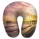 tyui7 Malibu Beach Pier Sunset Almohada en Forma de U Almoha