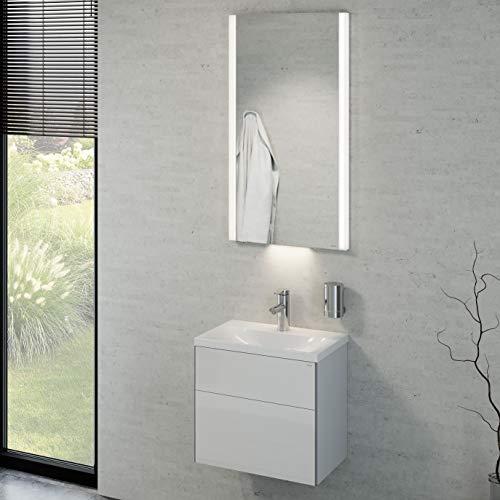 Keuco Badmöbelset mit Waschtisch, Waschbeckenunterschrank mit Drehtür Hochglanz-weiß, Badmöbel Komplettset mit Waschbecken, LED Spiegel, Badezimmerspiegel mit Beleuchtung, Breite 50cm Royal Reflex