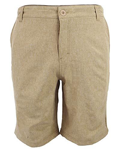 Men's Hybrid Shorts Chino Golf Athletic Casual Quick Dry 21'' Solid Amphibian Walk Boardshort 01 Khaki 36