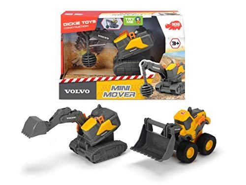 Dickie Toys 203722006 Volvo Mini Mover 3-Sortiert, Abrissbirne o. Radlader o. Bagger, bewegliche Frontteile per Druck auf Fahrzeuge, ab 3 Jahren, 13 cm, gelb/grau