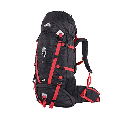 Upgraded Hiking Backpack 65L Internal Frame, High-Performance Backpacks Daypack Backpacking for Camping, Traveling, Trekking, and Outdoor Sports with Rain Cover(Red)