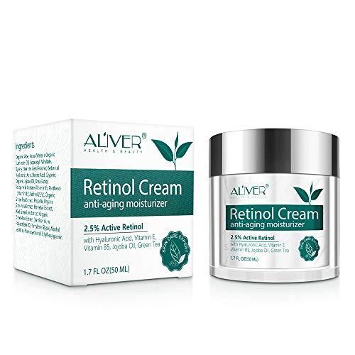 Retinol Creme für Gesicht, Hals und Körper, Anti-aging-feuchtigkeitscreme Mit Hyaluronsäure, Aktivem Retinol 2,5% und Vitamin E, Verbesserung Der Festigkeit, Des Tons, Der Textur, Reparatur Der Haut