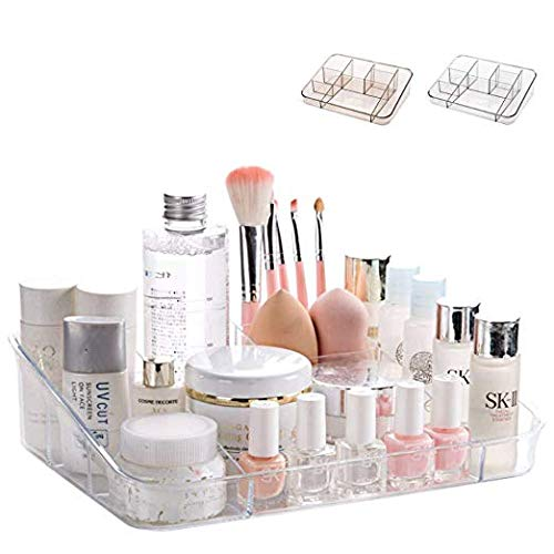 SUNFICON Makeup Organizer Tray Cosmetic Display Case Office Stationery Storage Holder Makeup Box Units for Bathroom Drawers,Vanities,Countertops, Office Desk,Washable Crystal Clear Acrylic