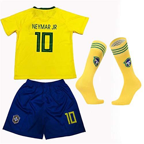 FFF, Copa del Mundo de Fútbol Brasil Neymar Da Silvasantosjúniorno.10 Camiseta de Manga Corta/Vintage Camisa 100% Pure Camiseta para niños Shorts + Calcetines,Amarillo,20