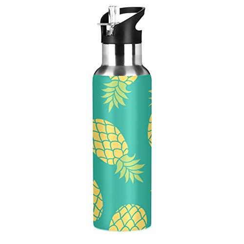 JNlover - Borraccia con cannuccia in acciaio inox, con stampa di ananas tropicale, in acciaio inox, con isolamento sottovuoto, per campeggio, corsa, palestra, yoga, 600 ml