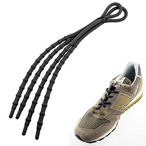 Inconnu Coppia di lacci in silicone elastico per scarpe nero taglia unica