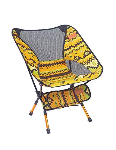 zhbotaolang Portable Ajustable Pliant Chaise - Ultra Léger Plein Air Sport Camping Tabouret Randonnée Pêche Pique-Nique Plage Barbecue Détendre Siège Jaune
