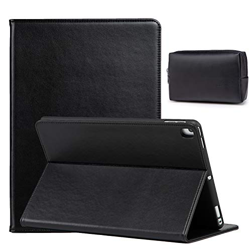 HYZUO 10.5 Inch Case with Stand Compatible with iPad Air 10.5/ iPad Pro 10.5/ iPad 10.2 Lambskin Leather Folio Smart Cover for iPad Air 3rd Gen 2019/ iPad Pro 10.5 2017/ iPad 8th/7th Gen, Black