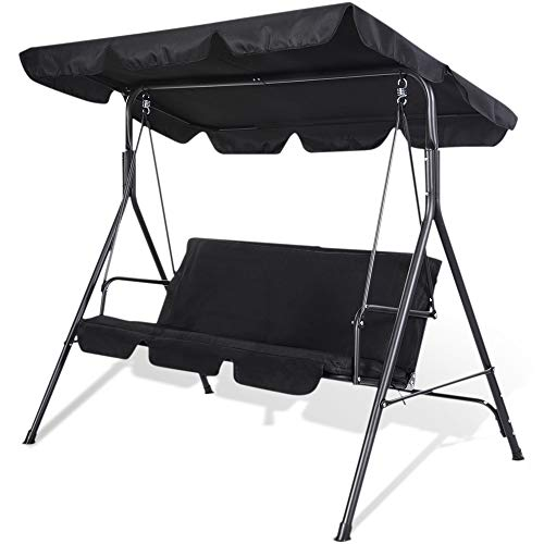 SUNMER Swing 3 Seater With Detachable Canopy, Garden Swing Cushioned Seat, Made With Strong Powder Coated Steel Frame - Black