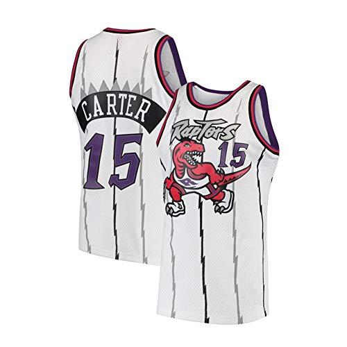 MEIBAO Camiseta de Baloncesto Toronto Raptors 15# Vince Carter para Hombre, Tejido cómodo de Jersey Bordado Vintage, Camisetas Deportivas Swingman (S-XXL)-White-L