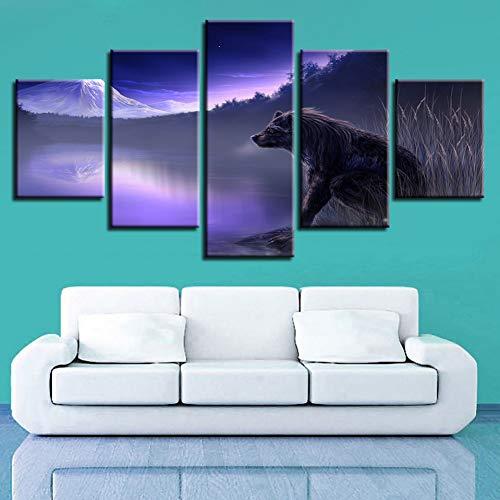 ADGUH LeinwanddruckeWohnkultur Bilder 5 Stücke Abstrakte Mist Lakes Wolf Fantasie Landschaftsbilder HD Drucke Spiel PosterDrucke auf Leinwand