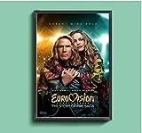 Concurso de canciones de Eurovisión: la historia de la saga del fuego, póster de lienzo de película, decoración de pintura de pared para el hogar (sin marco) -60x80cm sin marco