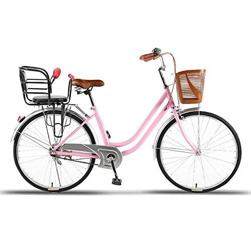 COKECO Komfort Fahrrad mit Korb, Damenfahrrad, 26 Zoll Damenrad,Fahrradkorb, Damen Citybike, Damenrad, Komfort, Fahrräder, Retro, Holland, Frau Lady Girl Vintage Erhältlich in Zwei Größen
