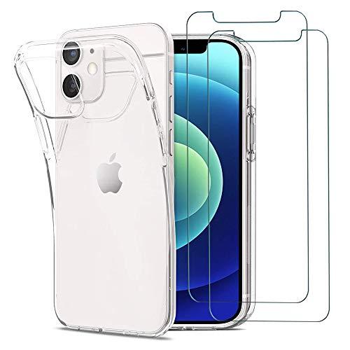 iPhone 12 Mini Hülle Panzerglas, [1 Handyhülle 2 Schutzfolie] Schutzhülle [Ultra Dünn] Folie Glas 9H Panzerglasfolie TPU Silikon Case Cover Tasche Schale Transparent Crystal für iPhone 12 Mini