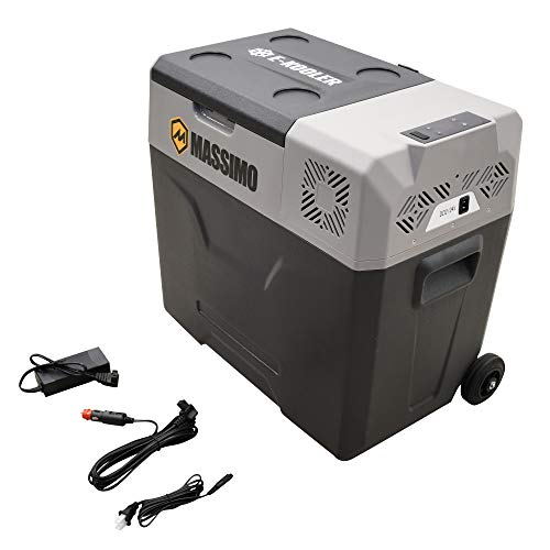 Massimo 40L Electric Cooler with Trolley Wheels & Telescopic Handle | 12V DC AC Portable Refrigerator | Travel Freezer for Picnic, Camping, Boat & Car, 40L-Large