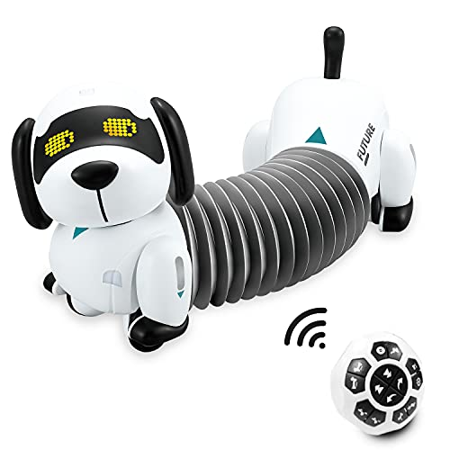 AOKID Remote Control Robot Dog Dachshund Puppy  RC Robotic Interactive Intelligent Walking Dancing Doggy Programmable Electronic Pet Toy with Music for Kids Age 6  7  8  9  10 Year Old