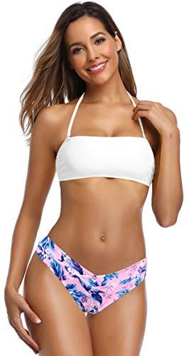 SHEKINI Bikini con Cuello Redondo y Top de Tubo Dividido para Mujer Que Imprime Traje de baño Cruzado en Forma de V de Cruz en Forma de V (S, Blanco)