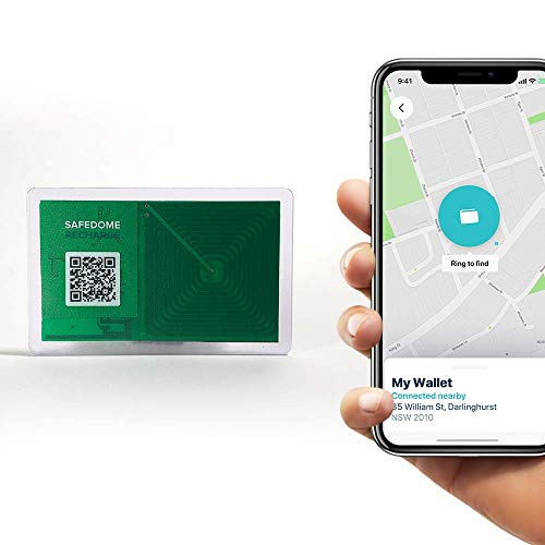 Safedome Recharge Bluetooth Tracking Card, Limited Edition Clear Card, Rechargeable Slim Bluetooth Finder for Lost Phone, Passport, or Wallet, Tracking Device with Free Companion App