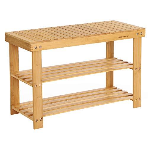 SONGMICS Banco Zapatero de bambú, Estantería para Zapatos con 3 estantes, 70 x 28 x 45 cm Ideal para Entrada, Baño, Sala de Estar, Pasillo LBS04N