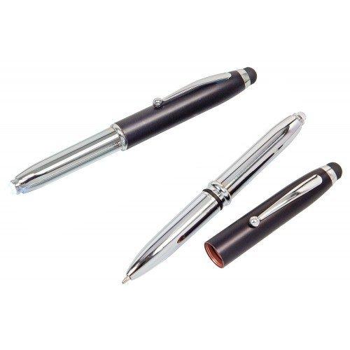 5x Touchpen Kugelschreiber / mit LED Licht und Touchscreenstift / silber-schwarz