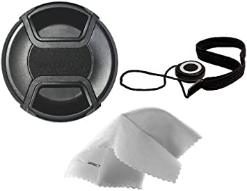 77mm Microfiber Cleaning Cloth. Nikon D3500 Lens Cap Center Pinch + Lens Cap Holder