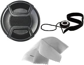 Digital Nc Sony SAL-1870 AF DT 18-70mm f/3.5-5.6(D) Lens Cap Center Pinch (55mm) + Lens Cap Holder + Nwv Direct Microfiber Cleaning Cloth.