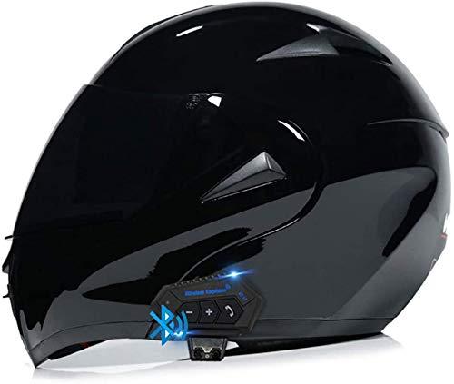 ZLYJ Bluetooth Motocicleta Casco Integral, Abierto Cascos Moto, Modulares Casco con Anti-Niebla Doble Visera, Profesional Unisex Casco Motocross, Certificado ECE C,S