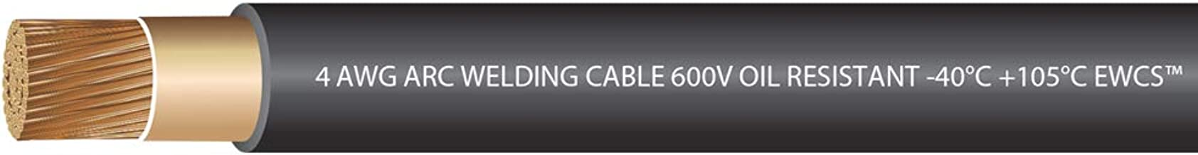 EWCS 4 Gauge Premium Extra Flexible Welding Cable 600 VOLT - Black - 20 Feet - Made in the USA