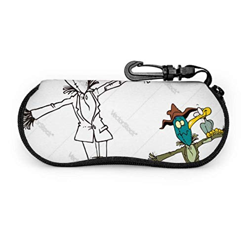 Brillenetui, Vogelscheuche und Vogel Cartoon Malvorlagen Vektor Sonnenbrille Weichetui Ultraleichtes Neopren Reißverschluss Brillenetui mit Karabiner, Schutzbrillenetui