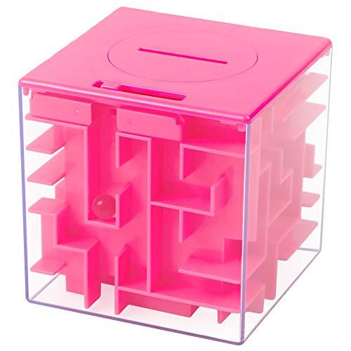Twister.CK Money Maze Puzzle Box, kreative und lustige Möglichkeit, kleines Geschenk, Labyrinth Geld Bank für Kinder als Brithday (Pink)