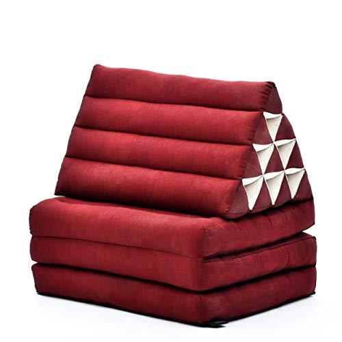 Leewadee Materasso Pieghevole a Tre segmenti: Comodo Tappeto con Cuscino Triangolare in Eco-kapok Fatto a Mano, Materasso thailandese, 170 x 53 cm, Rosso