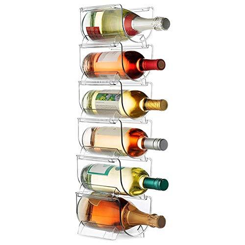 Botellero (lote de 6) – Soporte para botellas apilable y modulable de cristal transparente para bebidas al agua de vino, rastas, apilables, para encimeras de trabajo de carreras, 20 x 12 x 10 cm