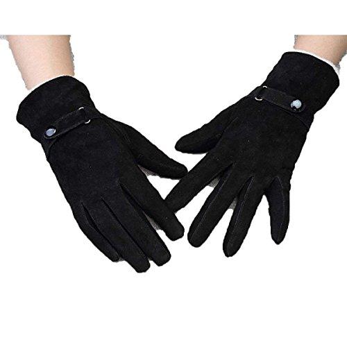 Frauen 'S Short Fashion Winter Warme Handschuhe Schwarz Lila Lederhandschuhe Einfache Mädchen Kleidung Fäustlinge (Color : Schwarz, Size : One Size)