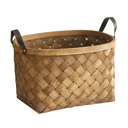 basket Moderner Stil Aufbewahrungskorb Vintage handgewebter Korb 35 * 27 * 22 cm Outdoor-Picknickkorb Obstkorb Einkaufskorb