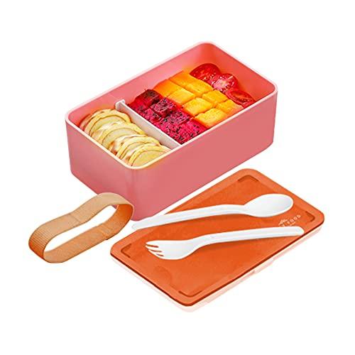 Bento Lunch Box Japonés Premium Fiambrera Con 1 Compartimentos Picnic Lunch Box Con 2 Cubiertos De Tartera Fiambreras Para Niños Microondas Y Lavavajillas Comida En Casa Bento Box Sostenible,Rosado
