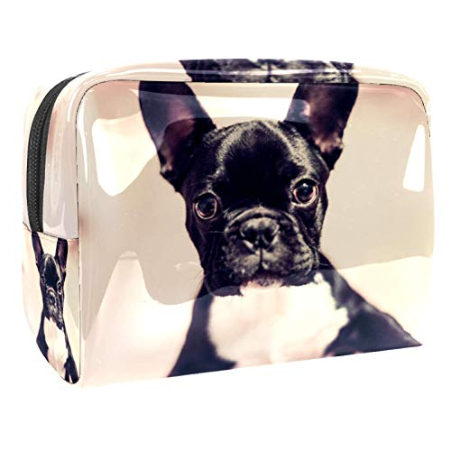 Cosmetic Bag for Women,Roomy Makeup Bags,Black french bulldog,Travel Waterproof Toiletry Bag Accessories Organizer