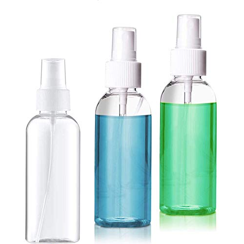 3 Pack 50ml Fine Mist Mini Spray Bottles Plastic, Pump Spray Cap Refillable Reusable Empty Atomizer Spray Bottles Travel,Suitable for Liquid (professional 1.69oz)