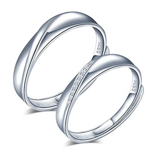 CPSLOVE Anillo de plata 925 para pareja, anillos de boda con incrustaciones de circón, tamaño ajustable, Anillo de compromiso