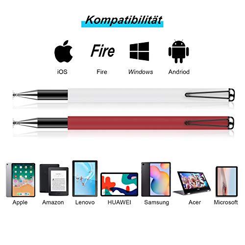 MEKO Tablet Stift [Regenbogen Serie] 2020 2 in 1 Universal Kugelschreiber Disc Touch Pen 100% kompatibel mit Allen Tablets Touchscreen iPhone iPad Surface Huawei usw, 6 Ersatzspitzen (Weiß+Rot)