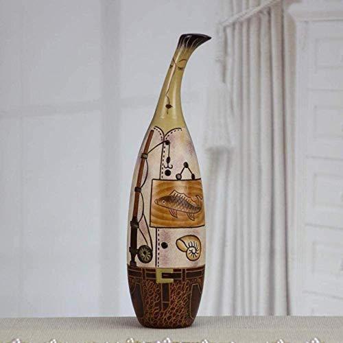 HZYDD Florero tumba creativa decoración de boda única exquisita obra de arte de cerámica hecha a mano hermosa escultura paisaje 32,4 x 8,5 cm para flores (color: C) (color: C)