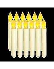 Lee's Relief Bazaar Taper LED Velas de luz Juego de 12 sin Llama AA Batería Velas para la Cena Festivales con - Sin Paquete de batería 6.5 Inch / 16.5 cm (Largo)