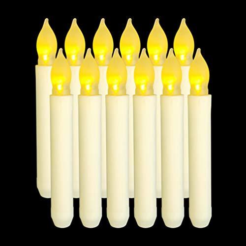 Taper LED Velas de luz Juego de 12 sin llama AA Batería Velas para la cena Festivales con - Sin paquete de batería 6.5 Inch / 16.5 cm (Largo)