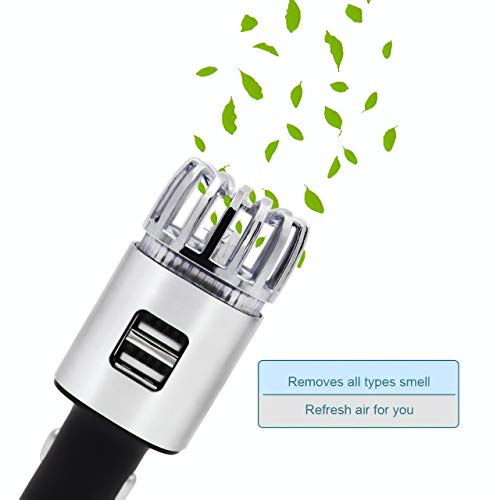 Car Air Purifier Stainless Steel HEPA Filter car ionizer USB car Charger 3.0 dual port-Eliminate...