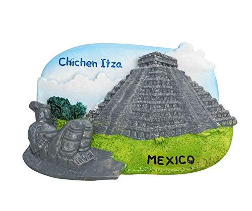 zamonji Civilización Maya en Chichén Itzá, México | El Castillo/Templo de Kukulcan, Estatua de Chac Mool | 3D Resina Imán de Nevera Recuerdos de Viajes Mexicanos