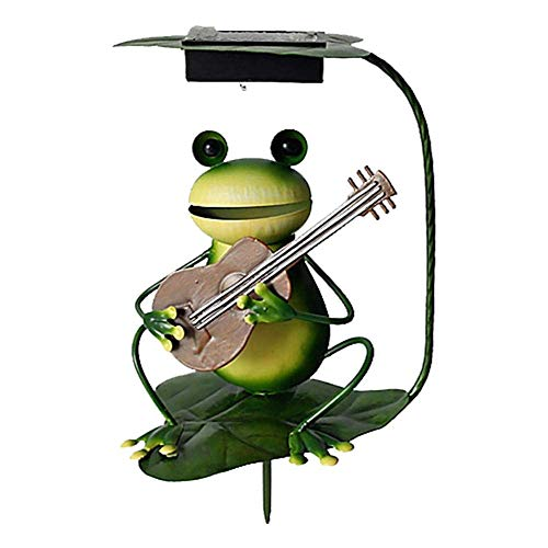 Smart Garden Light Figurines, Home Hut Garden Solar Ornament Light LED Statue Figurine Decor for Yard Lawn Patio Frog,Flute